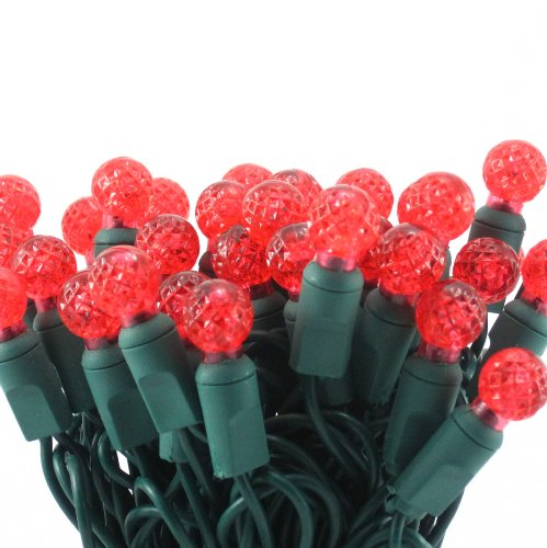 On Sale! Red Led G12 Mini Christmas Light Set, Set Of 50 Bulbs Per/Set, Professional Grade