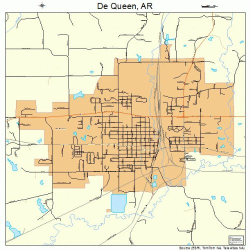 Street & Road Map of De Queen, Arkansas AR - Printed small size atlas of your home town