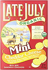 Late July Organic Bite Size Sandwich Crackers, Mini Cheddar Cheese, 5 Oz