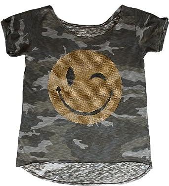 anna f camouflage t shirt mit glitzer smiley m. Black Bedroom Furniture Sets. Home Design Ideas