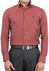 Unkonventional Men's Casual Shirt (unkmonmarzxl_Maroon_42)