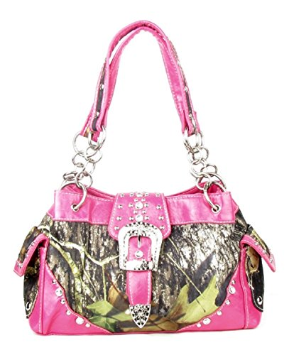 Western Handbag Camouflage Belt Buckle Camo Rhinestone Purse (PINK)