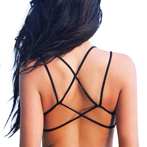 Bolayu Women Boho Bustier Bra Vest Bralette Shirt Blouse Tank Tops Cami (Black)