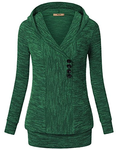 Sweaters,Miusey Women's Long Sleeves V Neck Vintage Pullover Ribbed Knit Sweatshirt Hoodies Casual Top Green Large