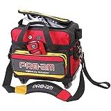 ABS ボウリング バッグ B16-1180 レッド/イエロー ボール 2個用 ショート キャスターバッグ ボウリング用品 ボーリング グッズ