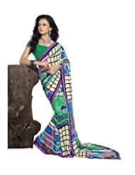 Triveni Multi Colored Checkered Printed Fancy Saree 61016