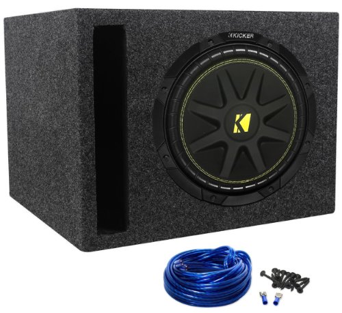 "Package: Kicker 10C10-4 Ohm 300 Watt Car Subwoofer + Rockville Rsv10 Single 10"" Vented Subwoofer Enclosure + Single Enclosure Wire Kit With 14 Gauge Speaker Wire + Screws + Spade Terminals"
