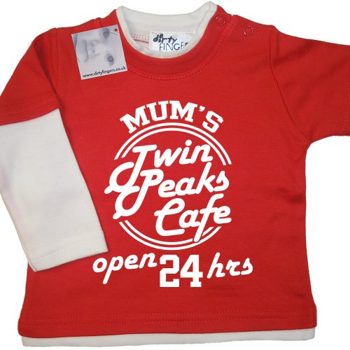 Dirty Fingers - Mum's Twin Peaks Café, open 24hrs - Baby Clothing, Layered Skater Top, Red & White, 6/12 months