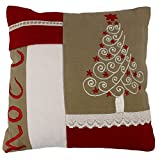 The Decor Mart - Single Cushion Cover - Cotton - Embroidered - Red - 9.5 X 9.5 Inch