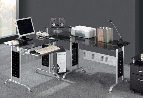 SixBros. Office - Scrivania porta pc vetro/nero - CT-3807/46