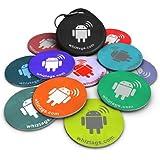 Tags NFC - Topaz 512 Chip - 10 Pack + Porte-Clés + en prime un Tag gratuit - Android inscriptible et programmable - autocollant adhésif - Samsung Galaxy S6 S5 S4 Note 4 - HTC One -First One X Droid DNA - Sony Xperia - Nexus - Smart Tags - Meilleurs-argent - Garantie de retour!