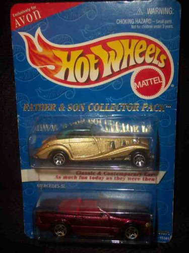 Avon Father & Son 2-Pack Mercedes 54k & Mercedes 500 SL Collectible Collector Car Mattel Hot Wheels