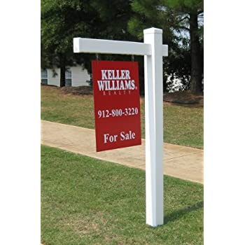 Vinyl PVC Real Estate Sign Post - White with Flat Cap