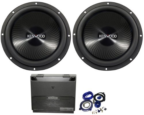 "Package: (2) Kenwood Kfc-W3013Ps 12"" 4 Ohm Performance Series Car Subwoofer With 2400 Watt Peak / 800 Watt Rms + Kenwood Kac-8105D Class D Mono 1000 Watt Class D Amplifier + Cadence Wk41 Complete 4 Gauge Wire Kit With Rca Cables"