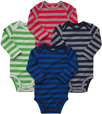 Carter's Baby Boy's 4-Pack Long Sleeve Bodysuits - Stripes - 18M