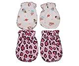 4 Pairs Cotton Newborn Baby/infant No Scratch Mittens Gloves - Cupcake + Leopard