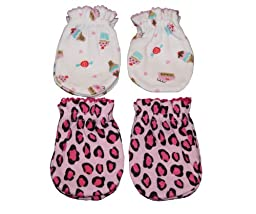 4 Pairs Cotton Newborn Baby/infant No Scratch Mittens Gloves - Cupcake + Leopard
