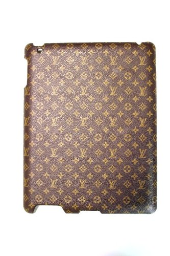 Brown Leather Monogram iPad 2 Protective Back Case Cover with Gold Stamp
