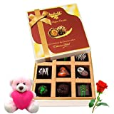 Various Flavors Of Chocolate With Teddy And Rose - Chocholik Luxury Chocolates