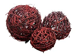 Cheung\'s Rattan Imports Hand-woven Orb, 6-Inch, Red Glitter