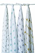 aden + anais Classic Muslin Swaddle Blanket 4 Pack, Jungle Jam