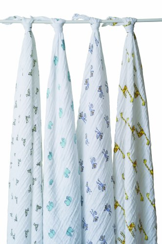 aden + anais 4 Pack Muslin Swaddle Wrap, Jungle Jam