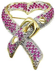 Heartt Shaped Breast Cancer Ribbon Rhinestone Brooch