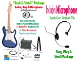 Kay Children's Guitar Package, Electric Guitar, Amp, Microphone & Accessories- BlueBurst (No Electricity Required)