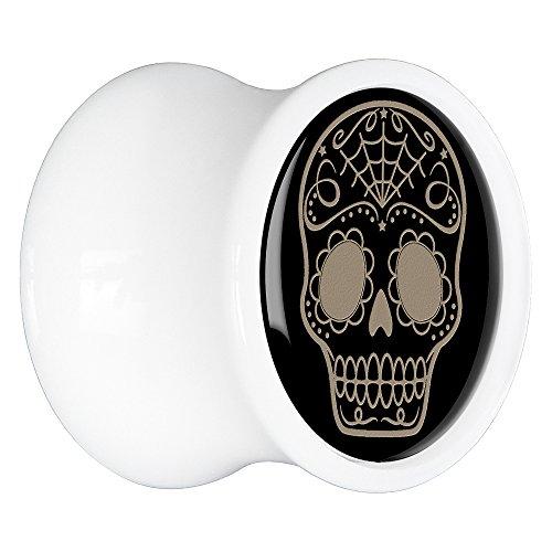 00 Gauge -White Acrylic Sugar Skull Saddle Plug