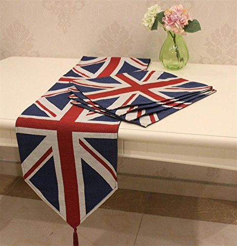Placemat and Table Runner, Colorfulife® The British Flag Cotton Yarn-dyed Soft Boutique Art Jacquard Design Decoration Mat Table Cloth Cup Mat (1 Table Runner + 4 Placemats) (British Yarn compare prices)