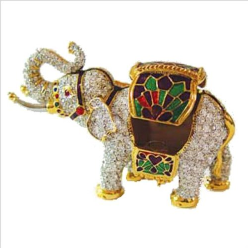 Swarovski Crystals! Indian Elephant Box w/ Howdah Saddle Blanket 24K Gold Jewelry, Trinket, Pill Box Figurine comes with Certificate of Authenticity