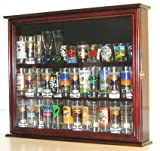 Souvenir / State / Hard Rock Shot Glass and Tall Shooter Display Case Holder Cabinet, glass door, Mahogany Finish (SC04-MA)