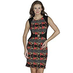 SVT Ada Collections Lycra Red floral print one piece dress (00902M_Red_Medium)