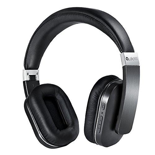 AudioMX Bluetooth ワイヤレスヘッドホン 密閉型 内蔵マイク オーバーヘッド 20時間連続稼働(黒)
