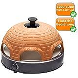 Elektrischer Pizza Ofen mit Steinbackplatte + Terrakotta-Haube, 1200Watt, Pizza direkt am Tisch backen
