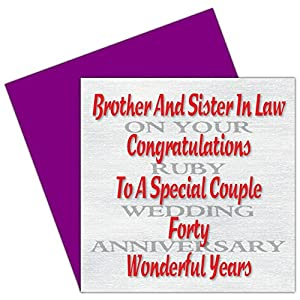 Wedding Anniversary Gifts For Brother And Sister In Law Online : Brother & Sister In Law 40th Wedding Anniversary Card - Ruby ...