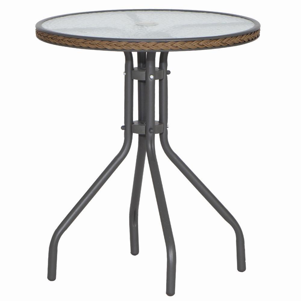 H.G. 209123 Tisch Sevillia, Tischplatte Glas, Durchmesser 60, Stahl Gestell grau, Kunststoffgeflecht cappuccino