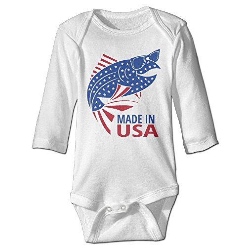 [Made In Usa Fish Cute Boy And Girl Baby Romper Jumpsuit 6 M White] (Dances With Wolves Costumes Designer)