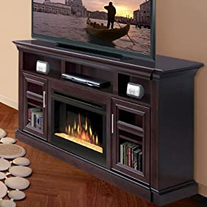 bailey 66 tv stand with electric fireplace insert style glass ember home kitchen. Black Bedroom Furniture Sets. Home Design Ideas