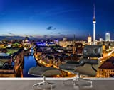 Mural Berlin at Night KT290 size: 165.3 x 106.3 inches (420cm x 270cm) wallpaper Germany television tower capital