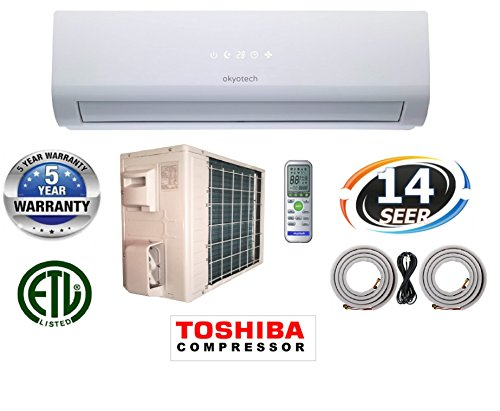 24,000 BTU 2 TON 14 SEER Ductless Mini Split Air Conditioner Cool & Heat with Heat Pump with Full Installation Set (Garage Ac Heat compare prices)