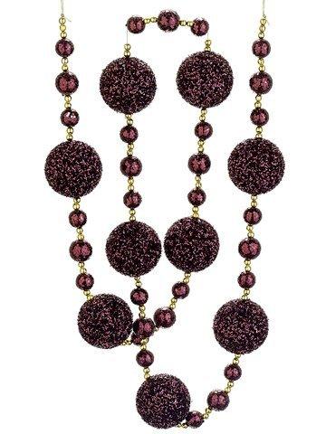allstate-rich-plum-burgundy-and-bronze-glittered-christmas-ball-garland-6-by-allstate