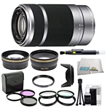 SEL55210, Sony - (e)mount - 55-210mm F4.5-6.3 Lens (White Box) with Outdoor Kit: 0.43x Wide Angle Lens, 2x Telephoto Lens, 3 Piece Filter Kit, 4 Piece Macro Lens Kit, Lens Hood, Cleaning Kit, & Lens Pen