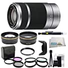 SEL55210, Sony - mount - 55-210mm F4.5-6.3 Lens with Outdoor Kit: 0.43x Wide Angle Lens, 2x Telephoto Lens, 3 Piece Filter Kit, 4 Piece Macro Lens Kit, Lens Hood, Cleaning Kit, & Lens Pen