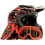 Adult Motocross Helmet Gloves & Goggles ATV Dirt Bike Motorcycle Red, XX-Large