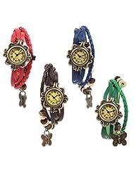 Felizo Combo Offer - Pack Of 4 Multi Strap Red, Brown , Blue & Green Fancy Butterfly Bracelet Vintage Watch