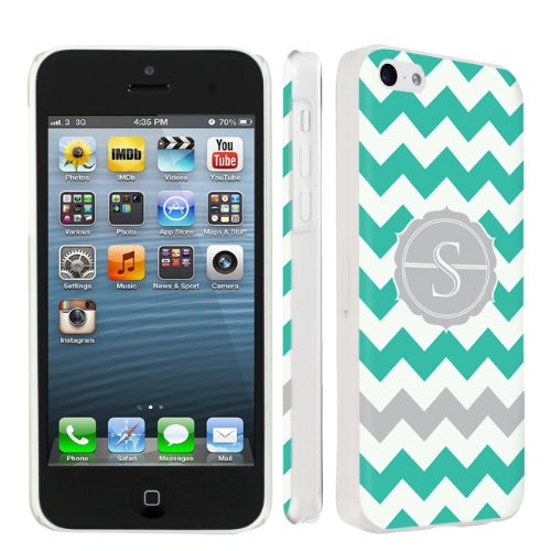 Skinguardz Ultra Slim Clear Plastic Case For Apple Iphone 5C - Mint Chevron Monogram Initial S back-935551