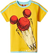 Disney Boys' T-Shirt (MICYB006A_Golden Yellow_5-6 Years)