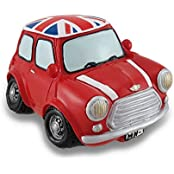 Vintage Style Red Union Jack Mini Cooper Coin Bank Car Piggy Bank