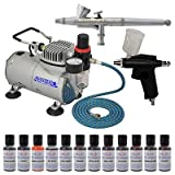 MASTER 2-Airbrush Cake Decorating Airbrush Kit, 12-each 0.7 Airbrush Food Colors Set With Airbrush Depot 1 Year Warranty Tankless Compressor and 6 Foot Air Hose Set